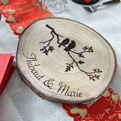 Dessous de plat rondin de bois décoré personnalisé modèle oiseau