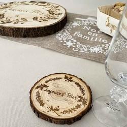 Dessous de verre rondin de bois décoré personnalisé Joyeuses Fêtes