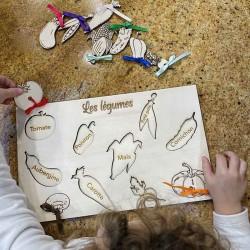 Puzzle légumes personnalisé 10 pièces en bois à encastrer