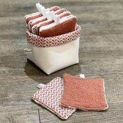 Panière avec lingettes lavables assorties broderie anglaise terracotta