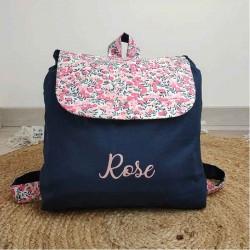 Sac à dos crèche-maternelle bleu marine fleurs roses personnalisé
