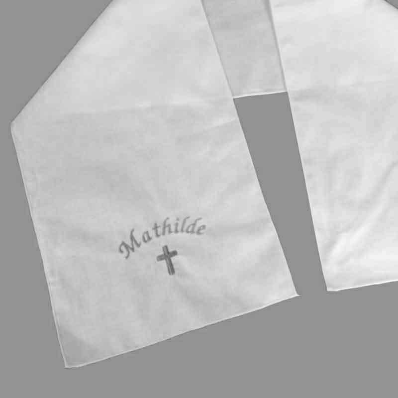 Echarpe de baptême brodée avec prénom et motif pour bébés faite main ... 01a97d54a52