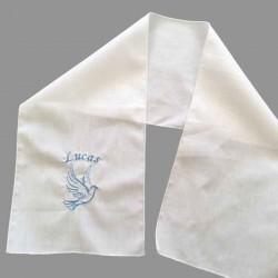 Etole de baptême brodée avec motif colombe pour enfants faite main