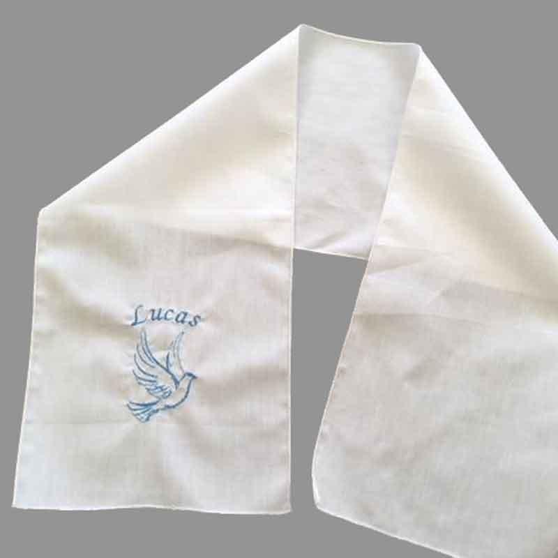 Echarpe de baptême brodée avec prénom et motif pour enfants faite ... 38b1dfa4195